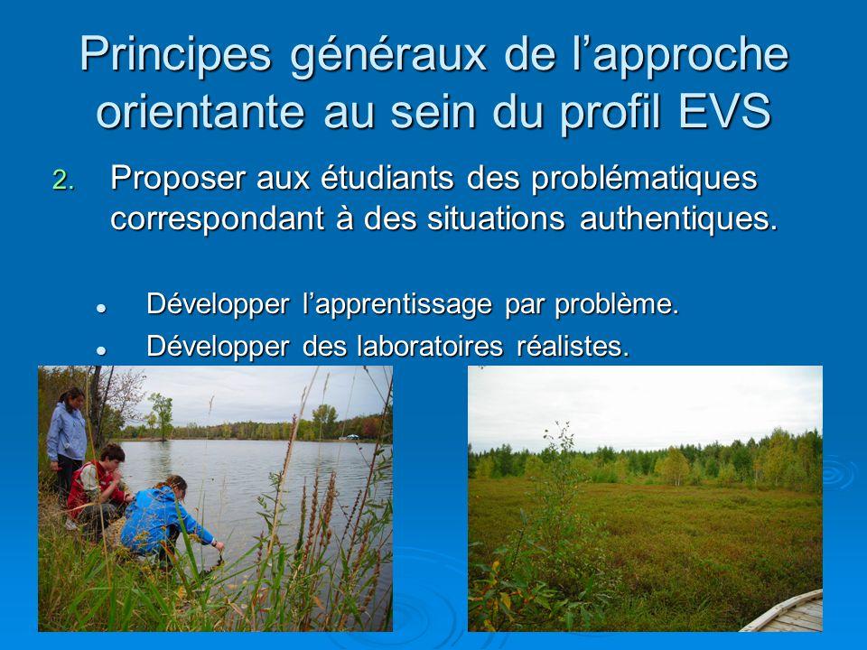 Principes généraux de lapproche orientante au sein du profil EVS 2. Proposer aux étudiants des problématiques correspondant à des situations authentiq