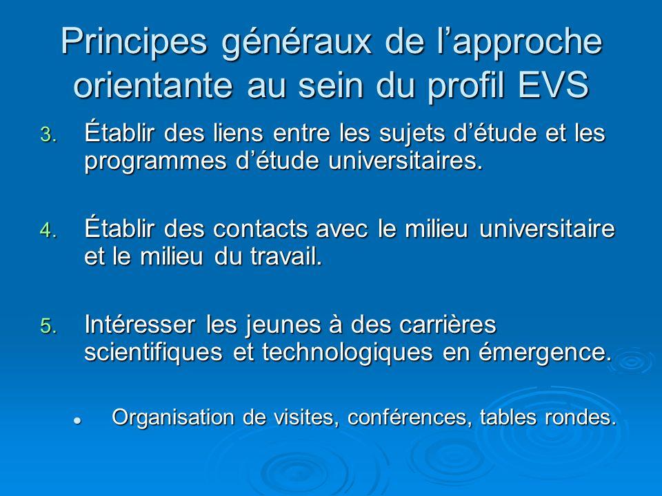 Principes généraux de lapproche orientante au sein du profil EVS 3. Établir des liens entre les sujets détude et les programmes détude universitaires.