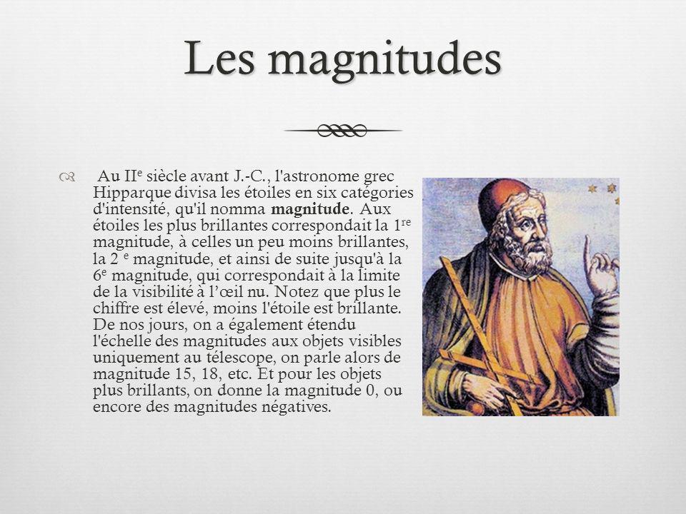 Les magnitudes (suite) Remarquons enfin qu une différence de 1 magnitude entre deux astres correspond un rapport d éclat de 2,512; une différence de n magnitude donne un rapport d éclat de 2,512 n.