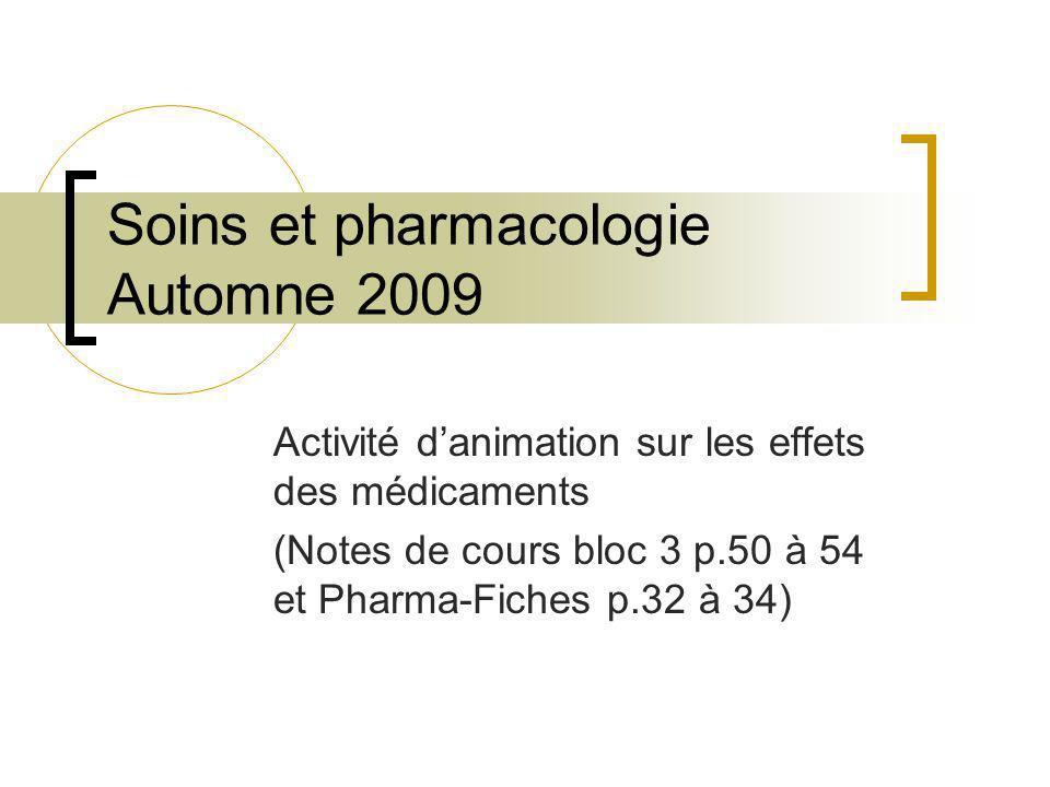 Soins et pharmacologie Automne 2009 Activité danimation sur les effets des médicaments (Notes de cours bloc 3 p.50 à 54 et Pharma-Fiches p.32 à 34)