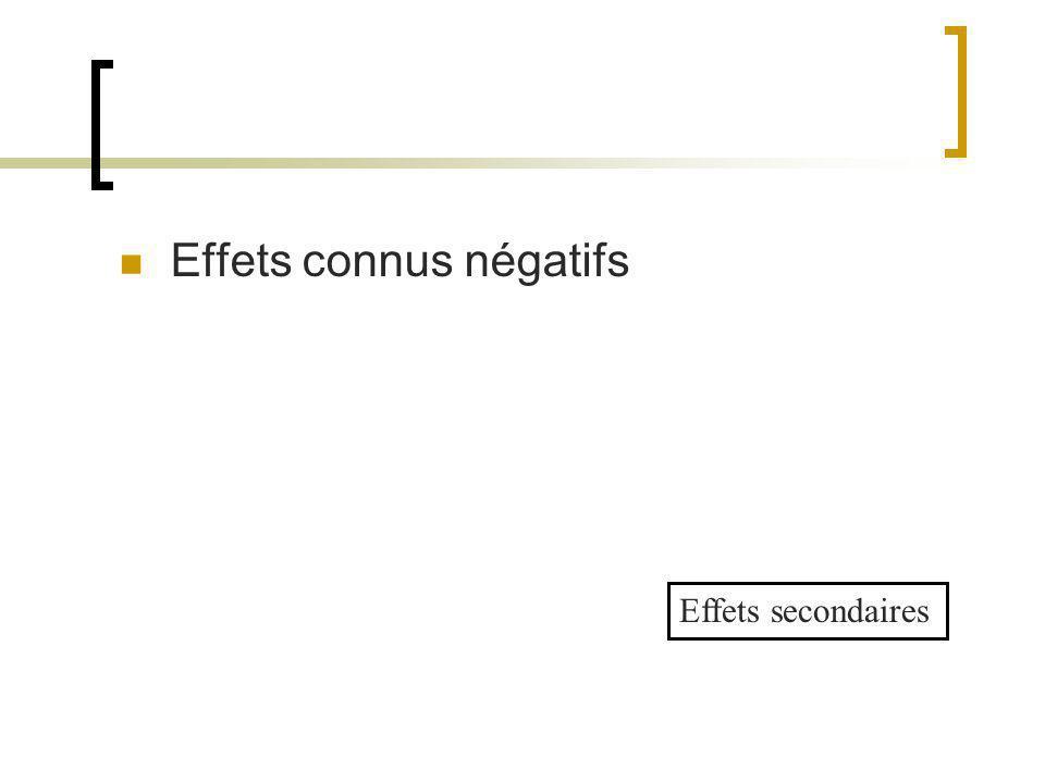 Effets connus négatifs Effets secondaires