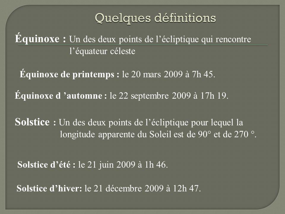 Équinoxe : Un des deux points de lécliptique qui rencontre léquateur céleste Solstice : Un des deux points de lécliptique pour lequel la longitude apparente du Soleil est de 90 et de 270.
