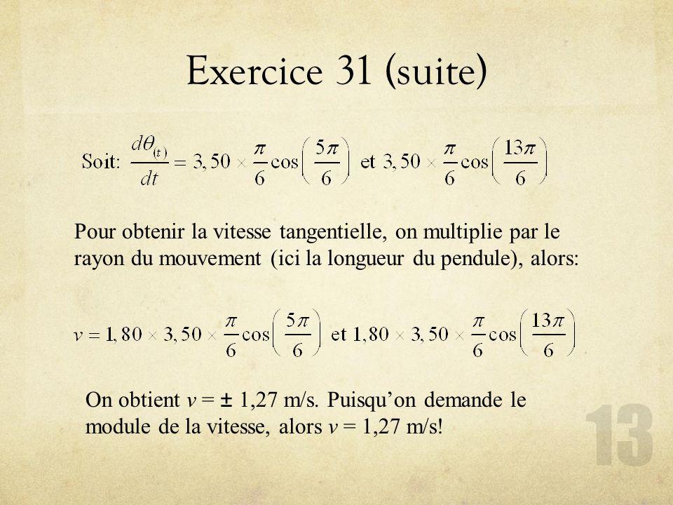 Exercice 31 (suite) Pour obtenir la vitesse tangentielle, on multiplie par le rayon du mouvement (ici la longueur du pendule), alors: On obtient v = ±