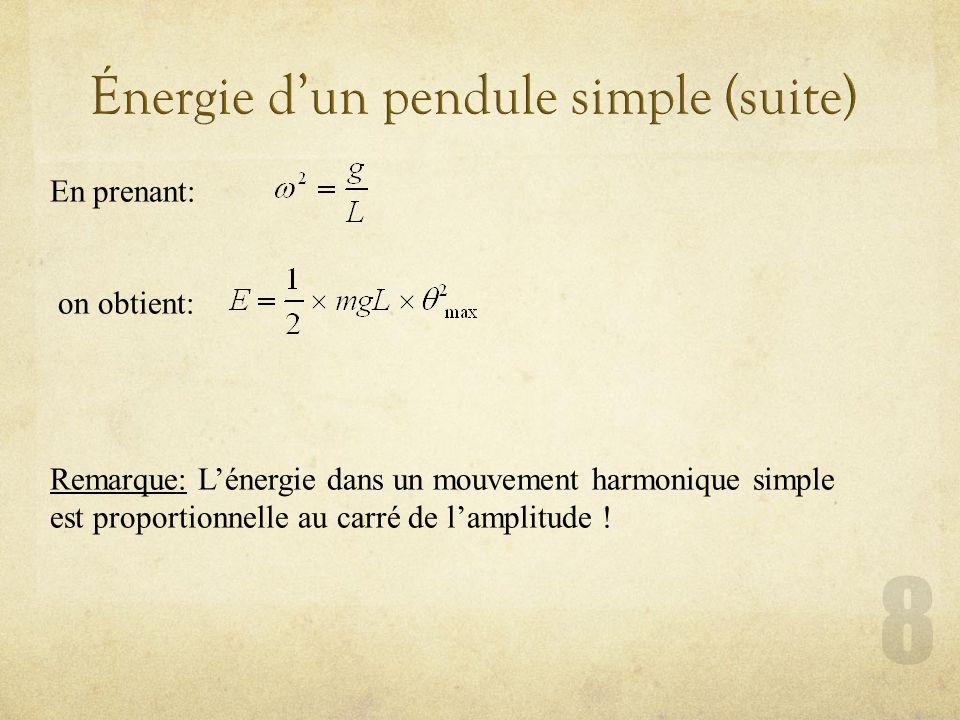 Exercice 31 (page 30) La masse de 20 g dun pendule simple de longueur 0,8 m est lâchée lorsque le fil fait un angle de 30° avec la verticale.
