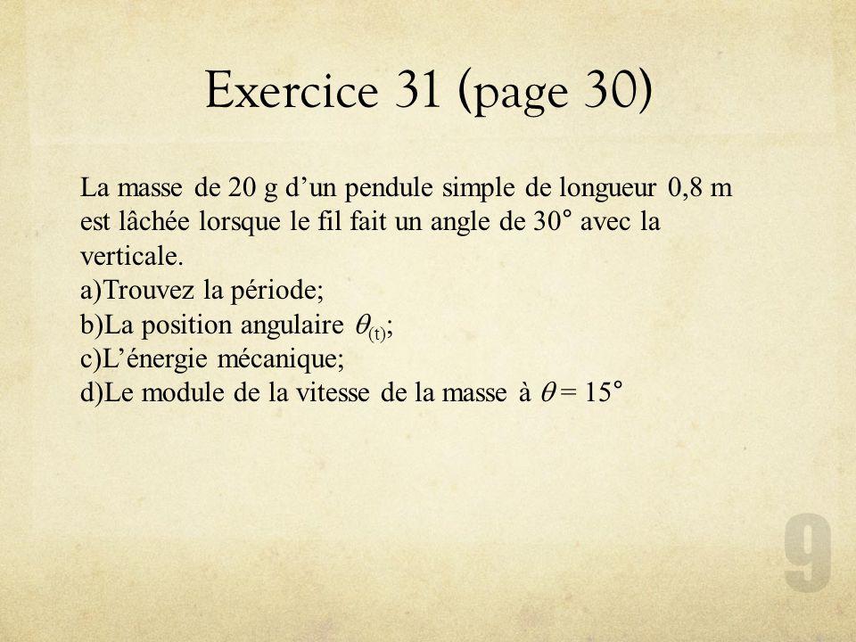 Exercice 31 (page 30) La masse de 20 g dun pendule simple de longueur 0,8 m est lâchée lorsque le fil fait un angle de 30° avec la verticale. a)Trouve