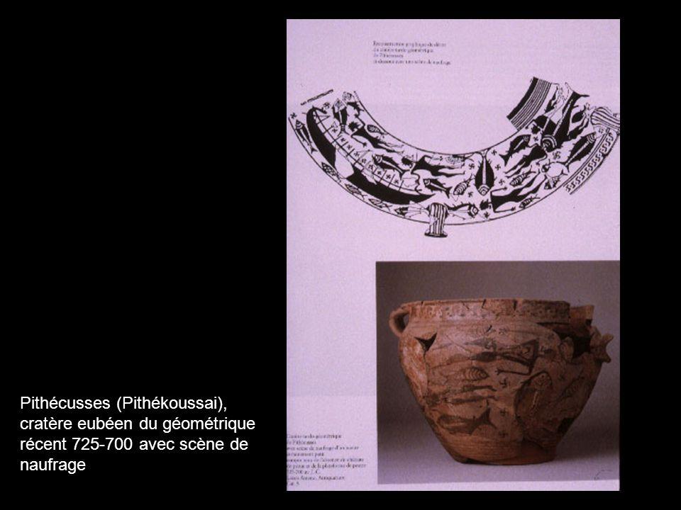 Pithécusses (Pithékoussai), cratère eubéen du géométrique récent 725-700 avec scène de naufrage