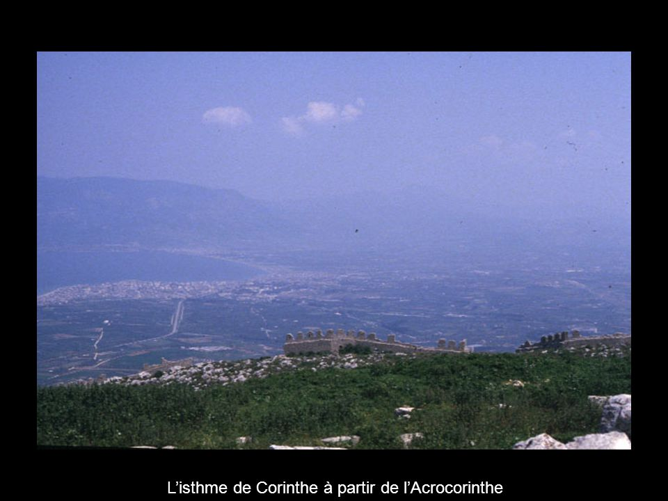 Isthmia (sanctuaire) Corinthe (astu) Acrocorinthe Léchaïon (port) Image satellite présentant lastu et la chôra de Corinthe 13 km Corinthe moderne