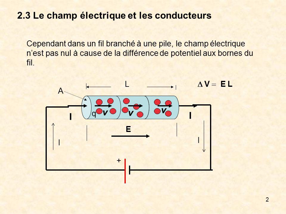 3 2.3 Le champ électrique et les conducteurs Nous pouvons néanmoins avoir la situation suivante : - + + + + + + + + + - - - - - - - E=0 Le champ résultant est nul dans la paroi du conducteur et les charges sont distribuées sur les surfaces intérieure et extérieure lorsque l équilibre est atteint.