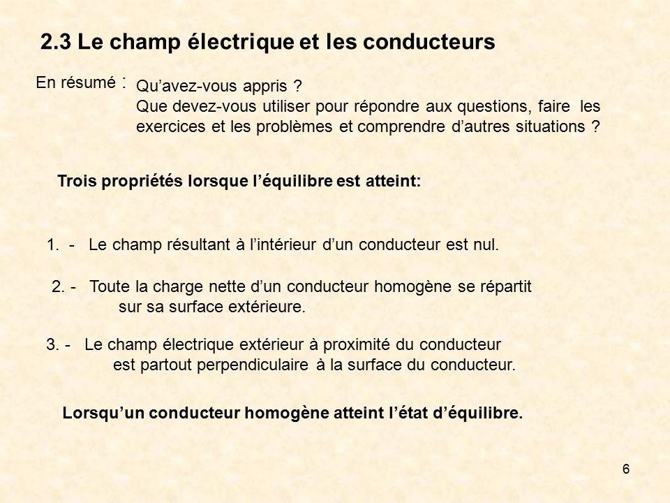 6 2.3 Le champ électrique et les conducteurs En résumé : 1. - Le champ résultant à lintérieur dun conducteur est nul. 3. - Le champ électrique extérie