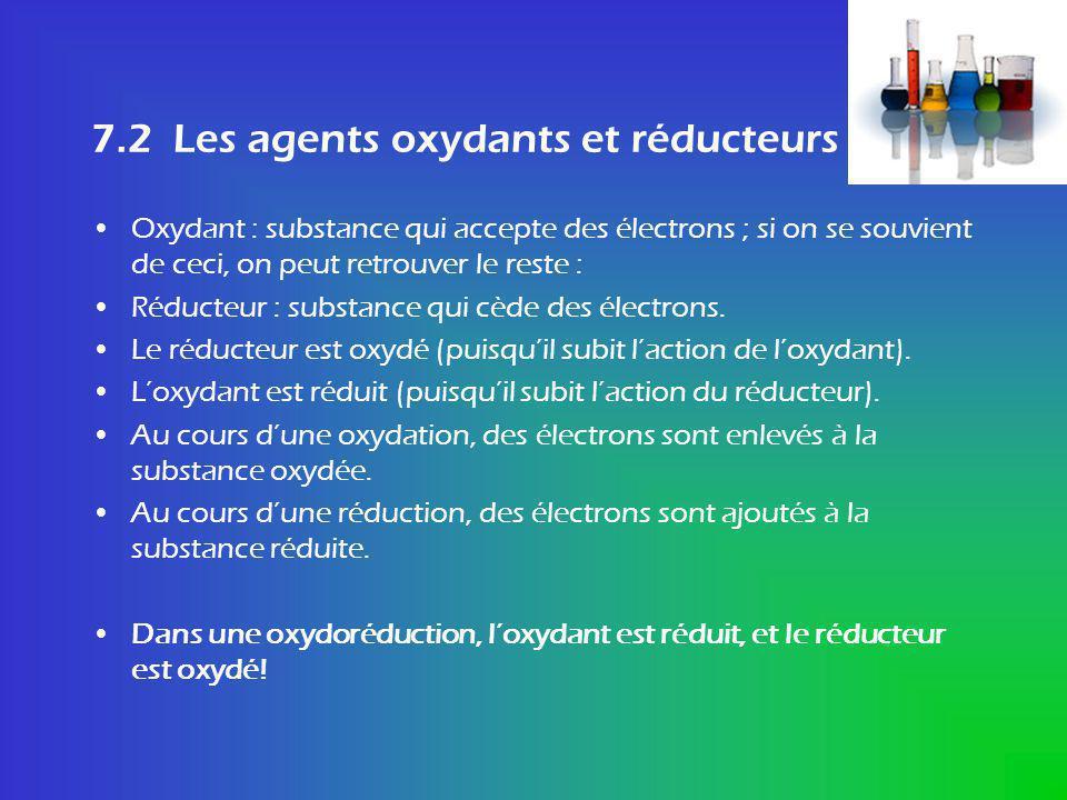 Les agents oxydants et réducteurs TRUC .