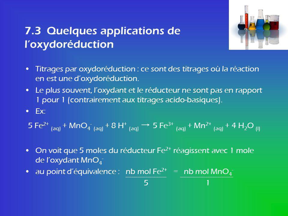 Quelques applications de loxydoréduction Pour la réaction générale a Ox + b Réd Produits on a au point déquivalence : n Ox = n Réd a b doù : c Ox V ox = c Réd V Réd a b