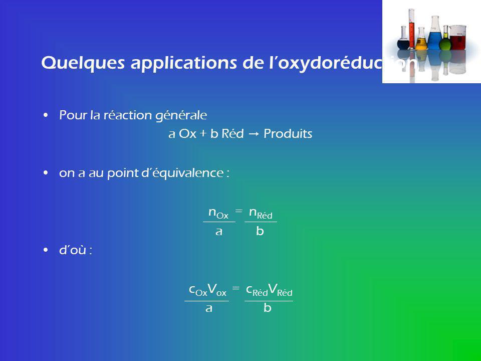 Quelques applications de loxydoréduction Pour la réaction générale a Ox + b Réd Produits on a au point déquivalence : n Ox = n Réd a b doù : c Ox V ox