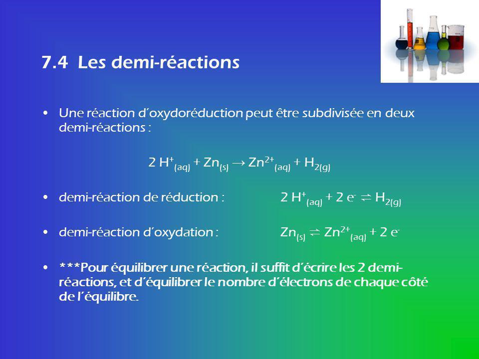 7.4 Les demi-réactions Une réaction doxydoréduction peut être subdivisée en deux demi-réactions : 2 H + (aq) + Zn (s) Zn 2+ (aq) + H 2(g) demi-réactio