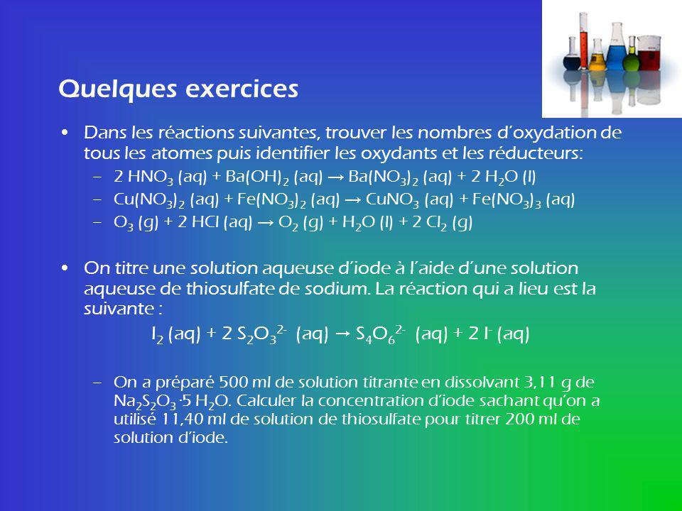 Quelques exercices Dans les réactions suivantes, trouver les nombres doxydation de tous les atomes puis identifier les oxydants et les réducteurs: –2