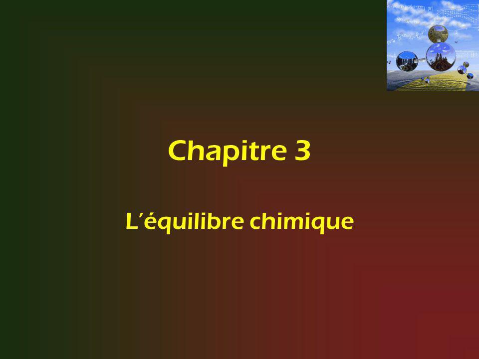 3.1 Le caractère dynamique de léquilibre Certaines réactions chimiques sont incomplètes ; Il est donc impossible dappliquer simplement les règles de la stoechiométrie.