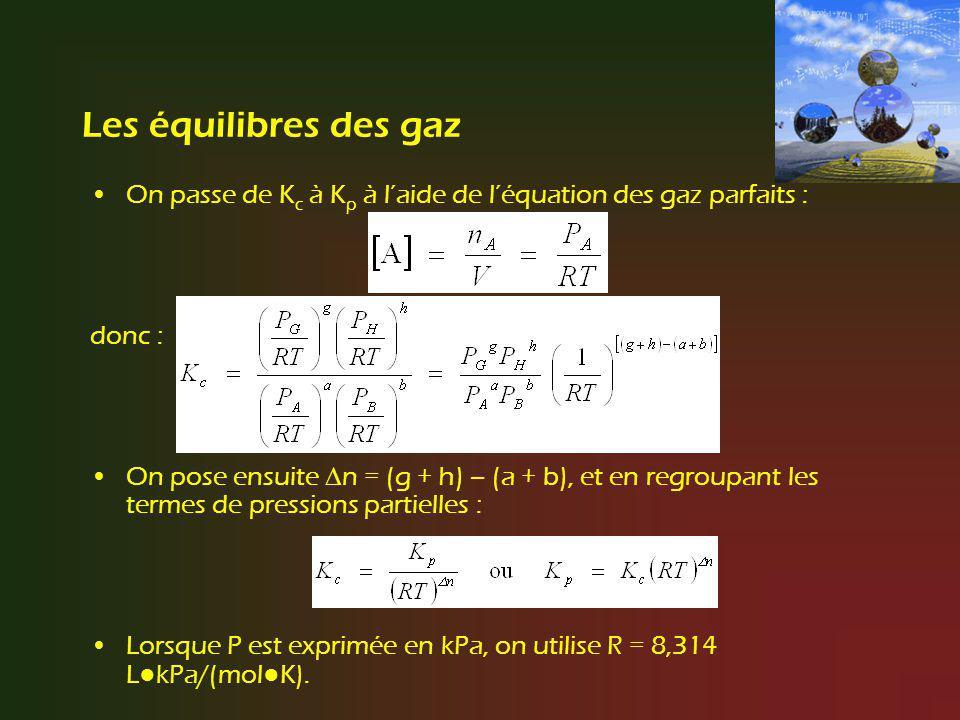 Les équilibres des gaz On passe de K c à K p à laide de léquation des gaz parfaits : donc : On pose ensuite n = (g + h) – (a + b), et en regroupant le
