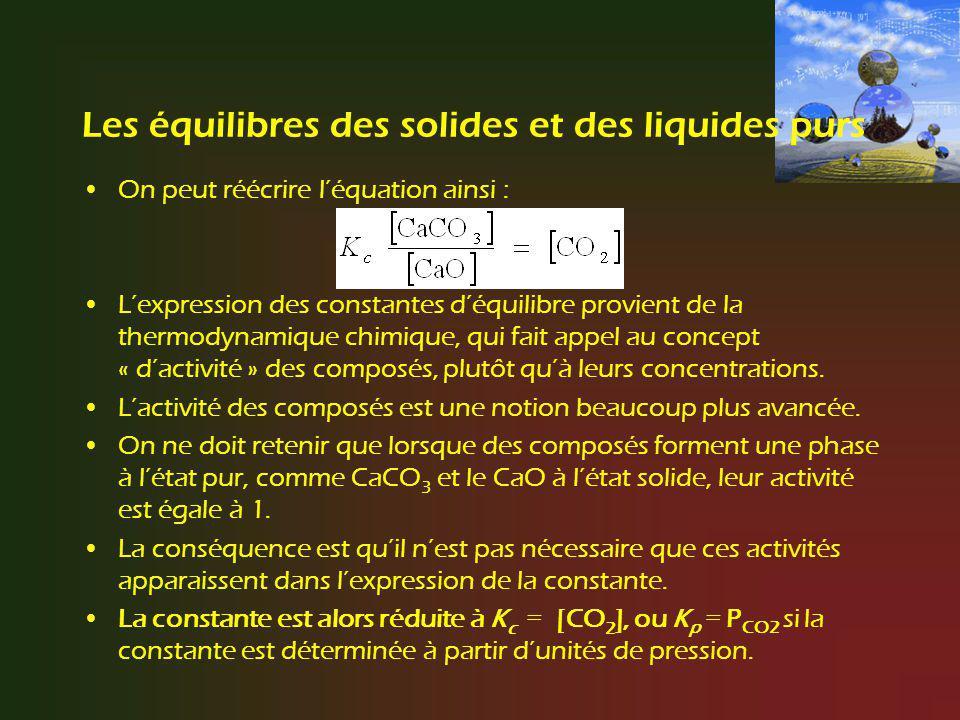 Les équilibres des solides et des liquides purs On peut réécrire léquation ainsi : Lexpression des constantes déquilibre provient de la thermodynamiqu