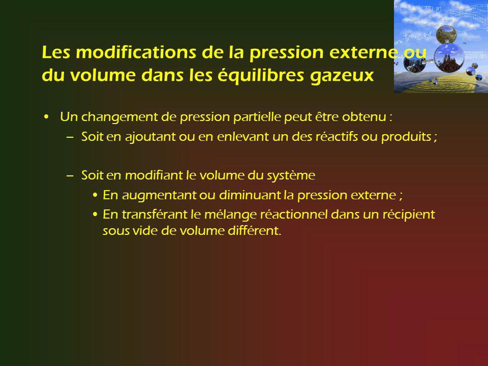 Les modifications de la pression externe ou du volume dans les équilibres gazeux Un changement de pression partielle peut être obtenu : –Soit en ajout