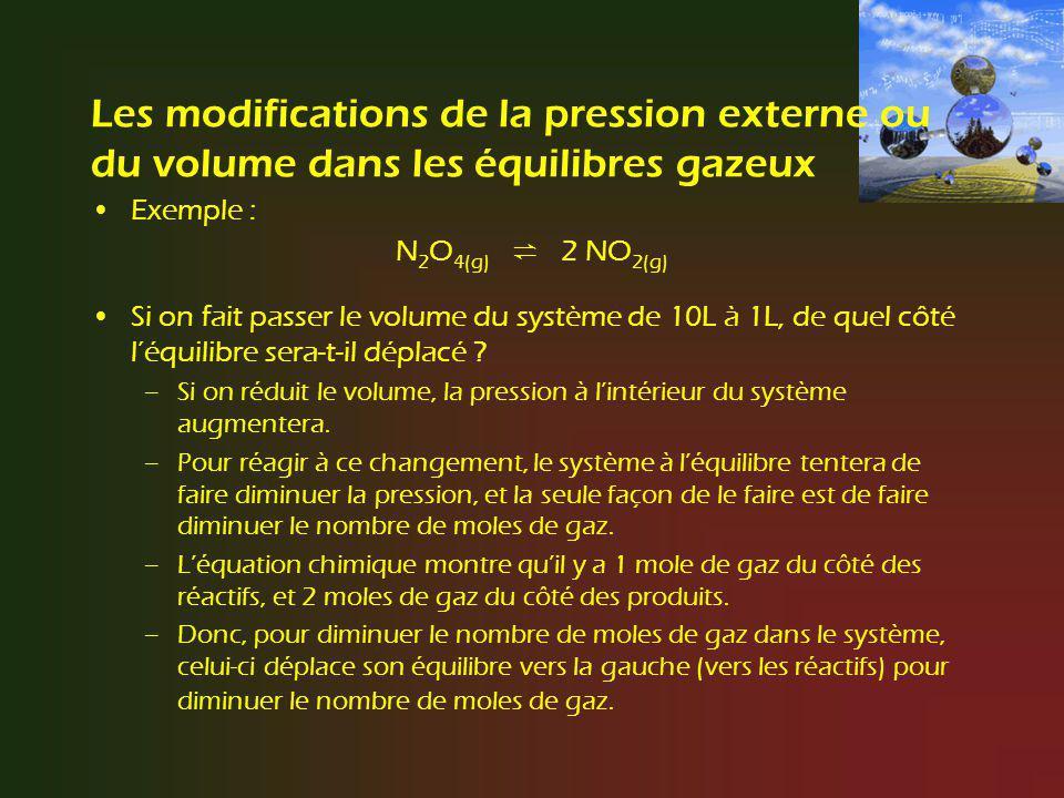 Les modifications de la pression externe ou du volume dans les équilibres gazeux Exemple : N 2 O 4(g) 2 NO 2(g) Si on fait passer le volume du système