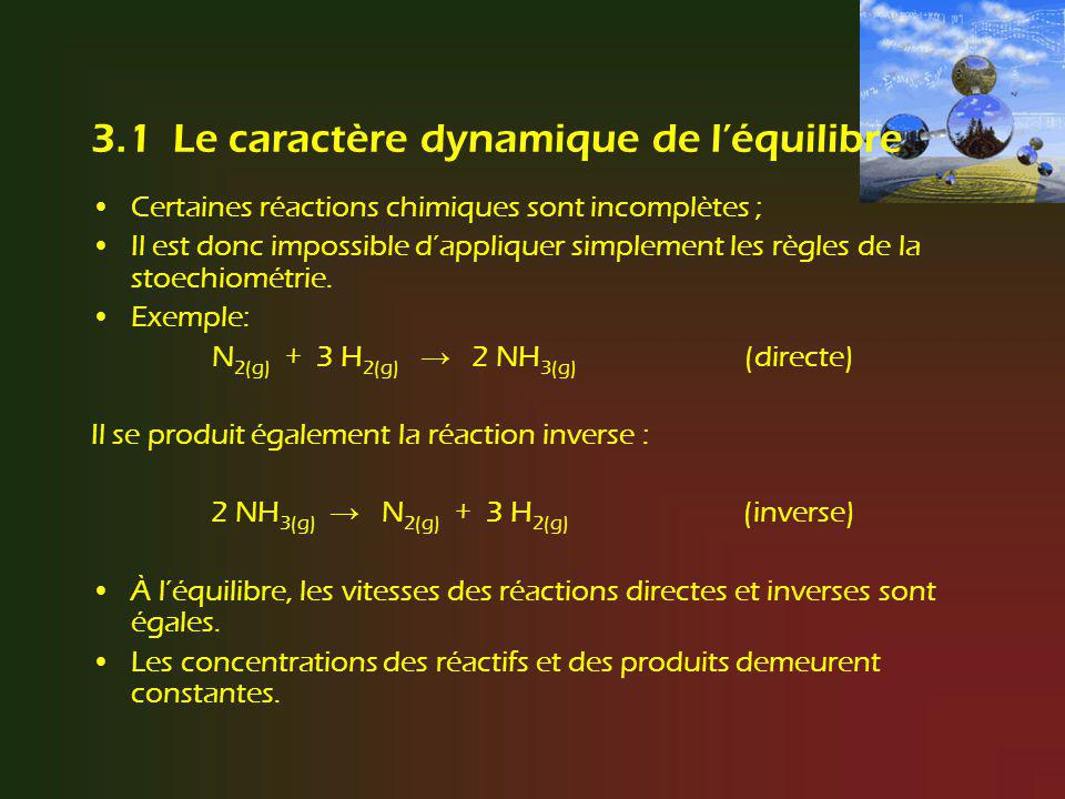 3.1 Le caractère dynamique de léquilibre Certaines réactions chimiques sont incomplètes ; Il est donc impossible dappliquer simplement les règles de l