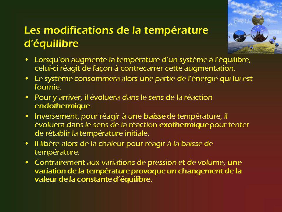 Les modifications de la température déquilibre Lorsquon augmente la température dun système à léquilibre, celui-ci réagit de façon à contrecarrer cett
