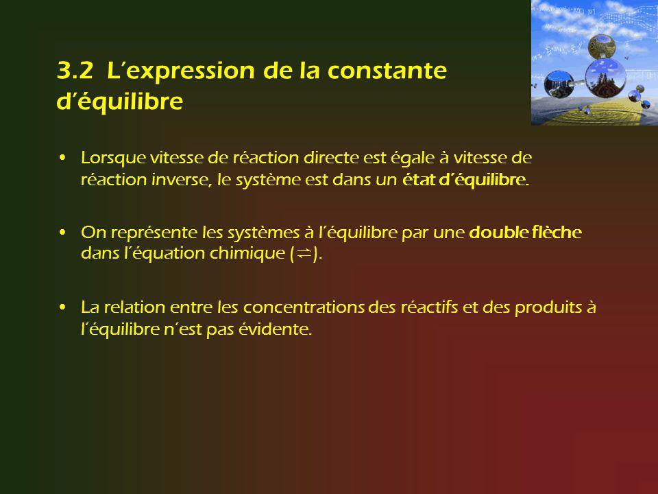 Le quotient réactionnel Q : prédiction du sens dune transformation nette On peut se servir de la constante déquilibre dune réaction pour déterminer si un mélange de réactifs et de produits formera plus de produits, de réactifs, ou si le système est à léquilibre.