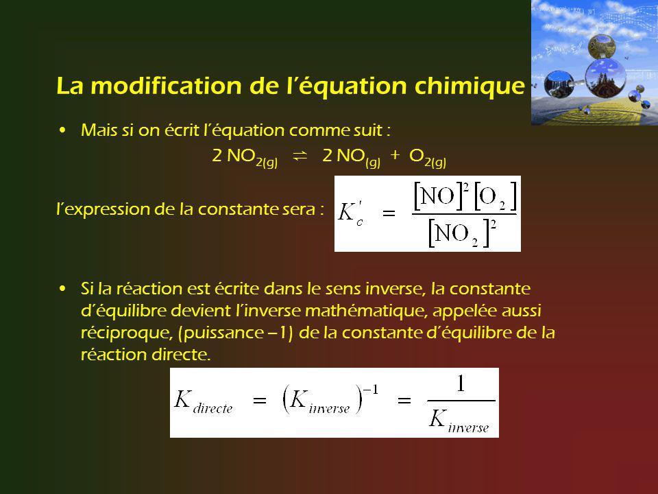 La modification de léquation chimique Si on divise les coefficients par 2 : NO (g) + ½ O 2(g) NO 2(g) la constante devient: Donc, K c = (K c ) 1/2