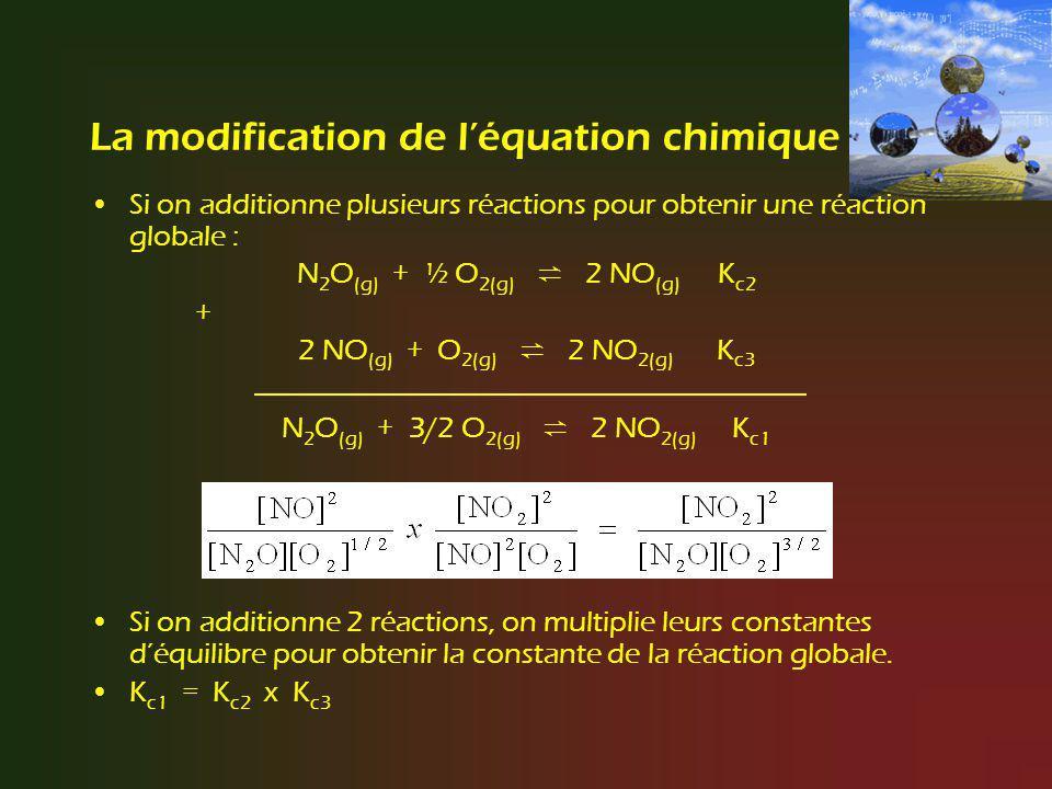 La modification de léquation chimique Si on additionne plusieurs réactions pour obtenir une réaction globale : N 2 O (g) + ½ O 2(g) 2 NO (g) K c2 + 2