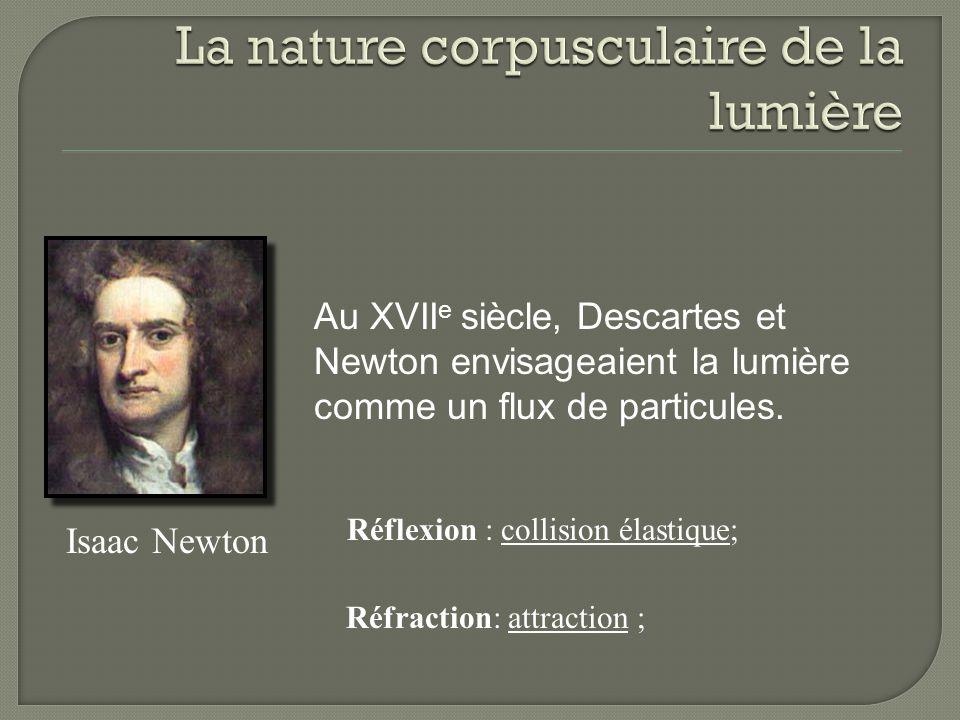 Isaac Newton Au XVII e siècle, Descartes et Newton envisageaient la lumière comme un flux de particules.