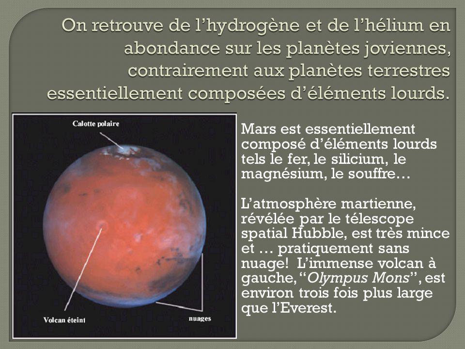 Mars est essentiellement composé déléments lourds tels le fer, le silicium, le magnésium, le souffre… Latmosphère martienne, révélée par le télescope
