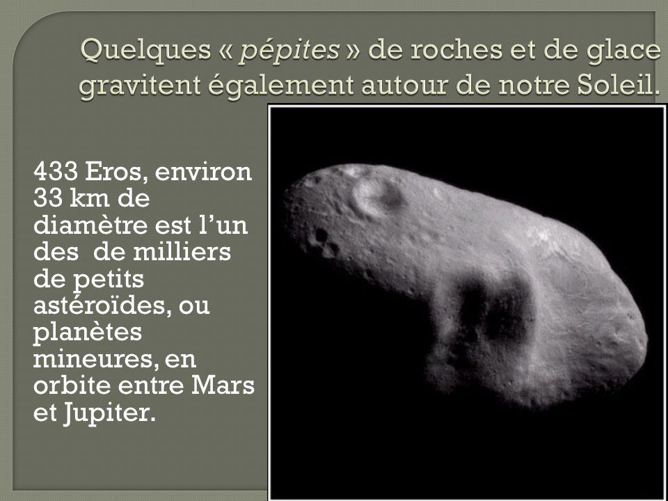 433 Eros, environ 33 km de diamètre est lun des de milliers de petits astéroïdes, ou planètes mineures, en orbite entre Mars et Jupiter.