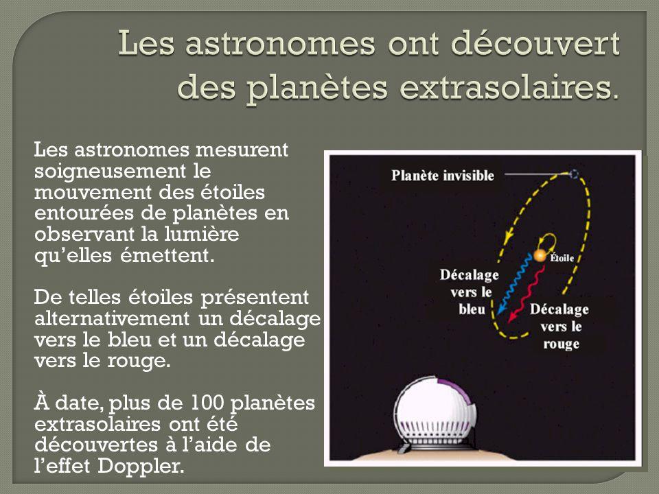 Les astronomes mesurent soigneusement le mouvement des étoiles entourées de planètes en observant la lumière quelles émettent. De telles étoiles prése