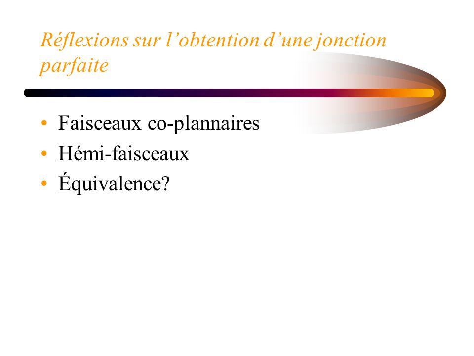 Réflexions sur lobtention dune jonction parfaite Faisceaux co-plannaires Hémi-faisceaux Équivalence?