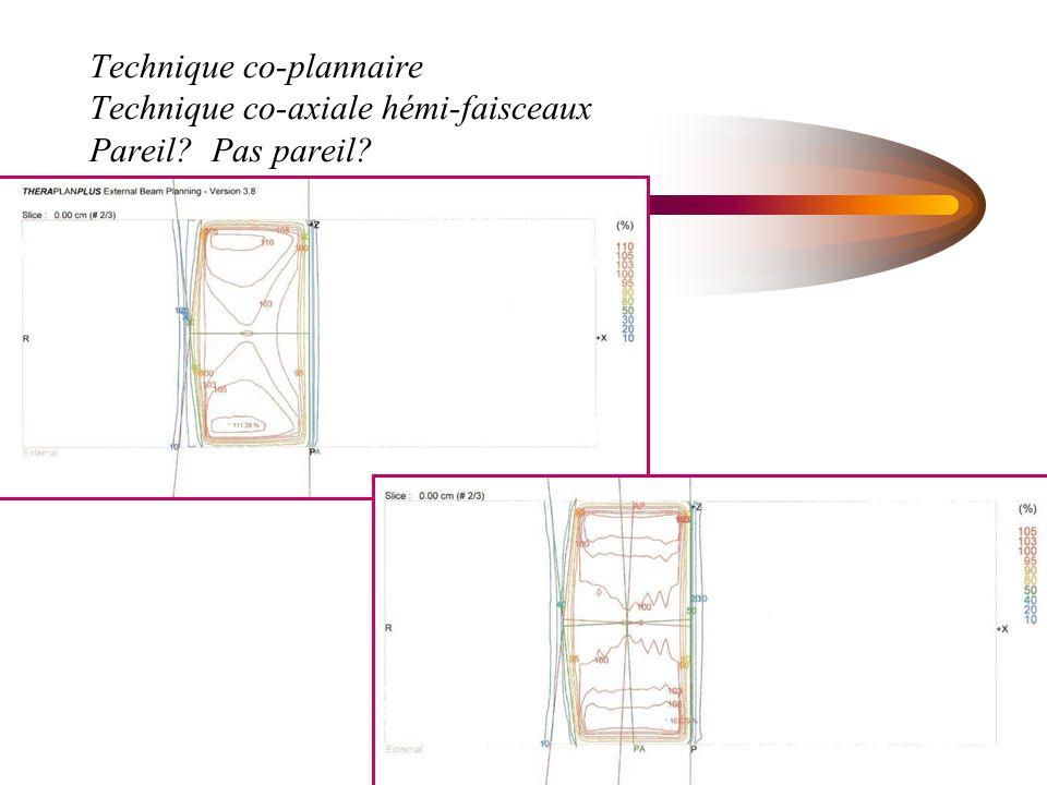Technique co-plannaire Technique co-axiale hémi-faisceaux Pareil? Pas pareil?