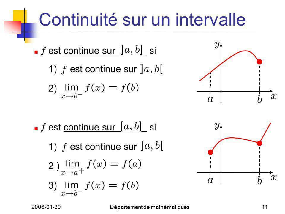 2006-01-30Département de mathématiques11 Continuité sur un intervalle est continue sur si 1) est continue sur 2) est continue sur si 1) est continue sur 2 ) 3)