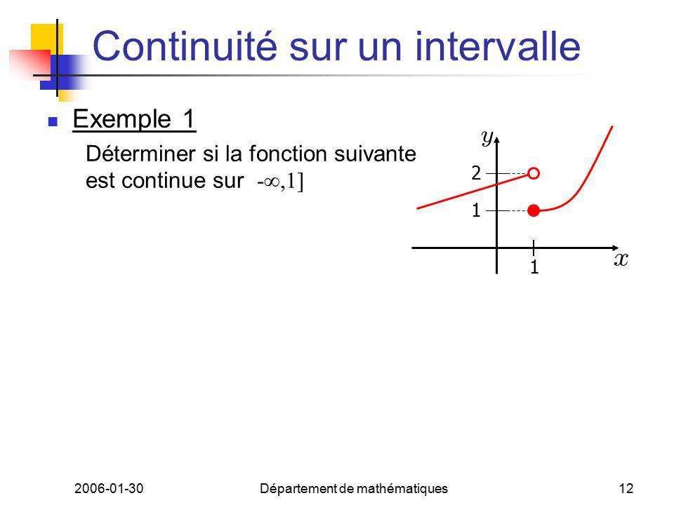 2006-01-30Département de mathématiques12 Continuité sur un intervalle Exemple 1 Déterminer si la fonction suivante est continue sur -,1] 1 1 2