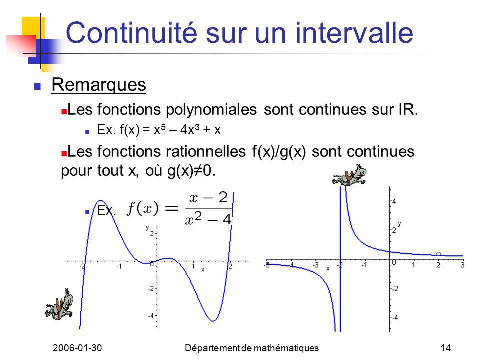 2006-01-30Département de mathématiques14 Continuité sur un intervalle Remarques Les fonctions polynomiales sont continues sur IR. Ex. f(x) = x 5 – 4x
