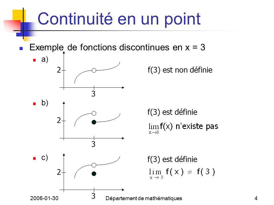 2006-01-30Département de mathématiques4 Continuité en un point Exemple de fonctions discontinues en x = 3 a) b) c) 2 3 f(3) est non définie 2 3 f(3) est définie 2 3