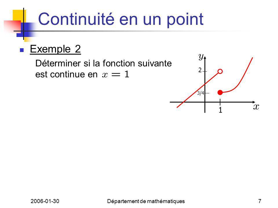 2006-01-30Département de mathématiques7 Continuité en un point Exemple 2 Déterminer si la fonction suivante est continue en 1 3/4 2