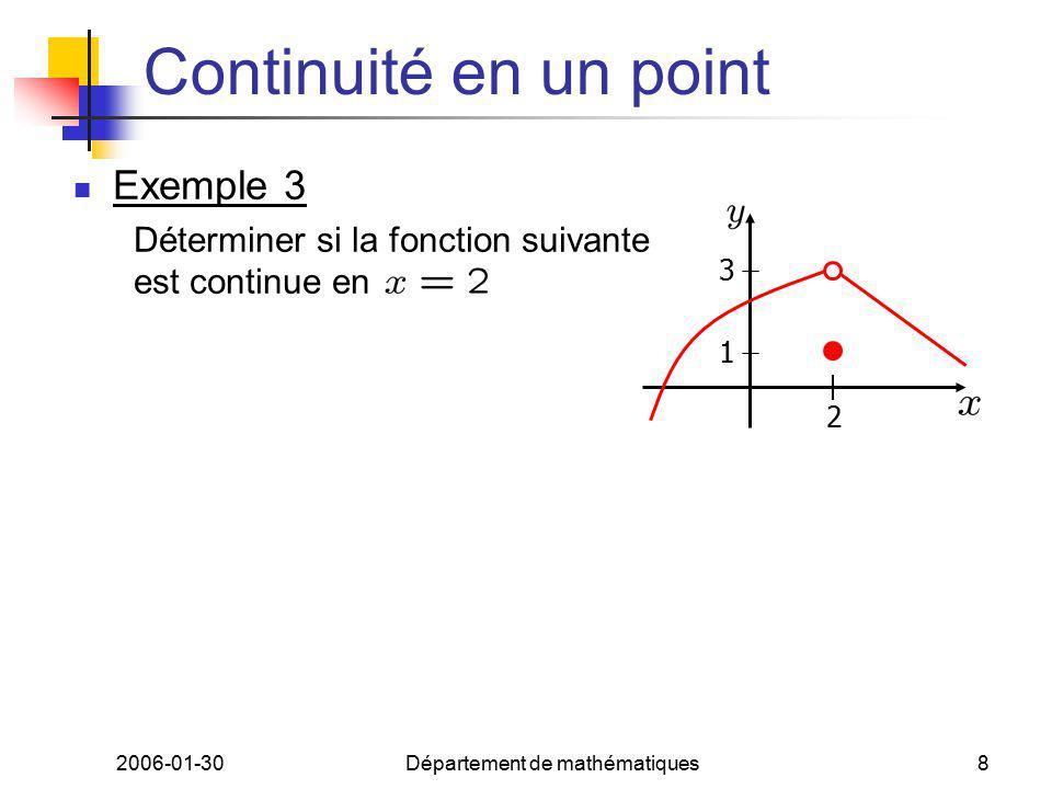 2006-01-30Département de mathématiques8 Continuité en un point Exemple 3 Déterminer si la fonction suivante est continue en 2 1 3