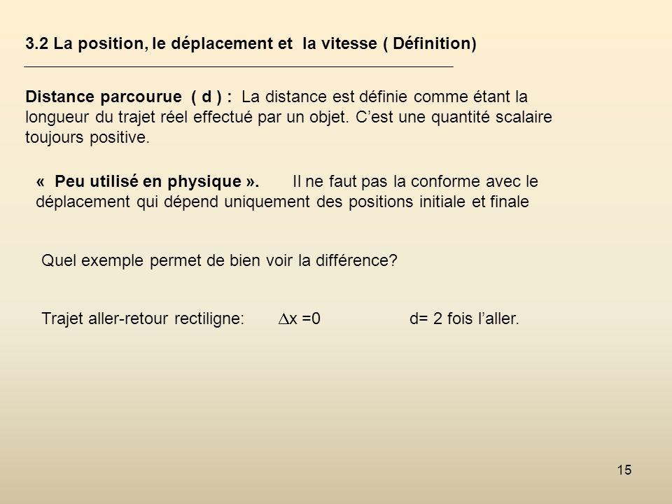 15 3.2 La position, le déplacement et la vitesse ( Définition) Distance parcourue ( d ) : La distance est définie comme étant la longueur du trajet ré