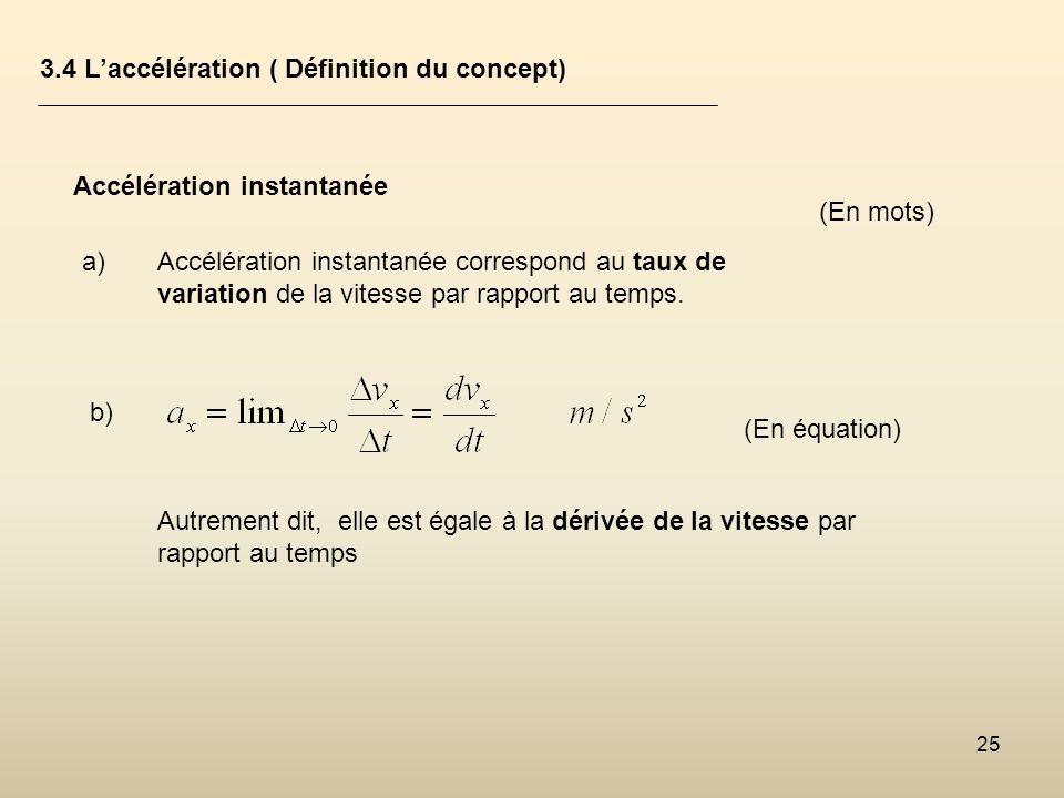 25 3.4 Laccélération ( Définition du concept) Accélération instantanée a)Accélération instantanée correspond au taux de variation de la vitesse par ra