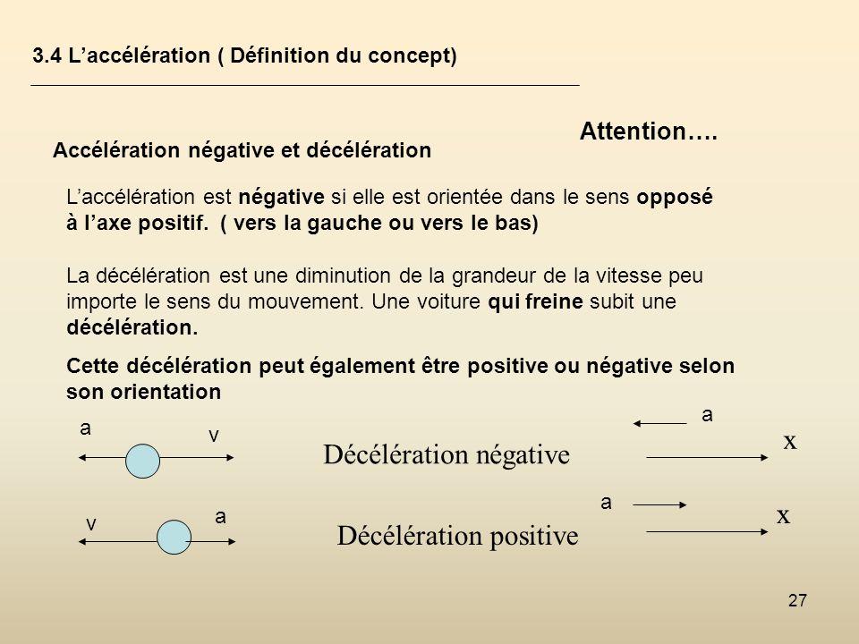 27 3.4 Laccélération ( Définition du concept) Accélération négative et décélération Laccélération est négative si elle est orientée dans le sens oppos