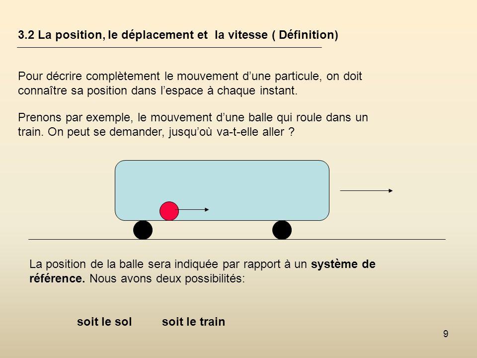 9 3.2 La position, le déplacement et la vitesse ( Définition) Pour décrire complètement le mouvement dune particule, on doit connaître sa position dan