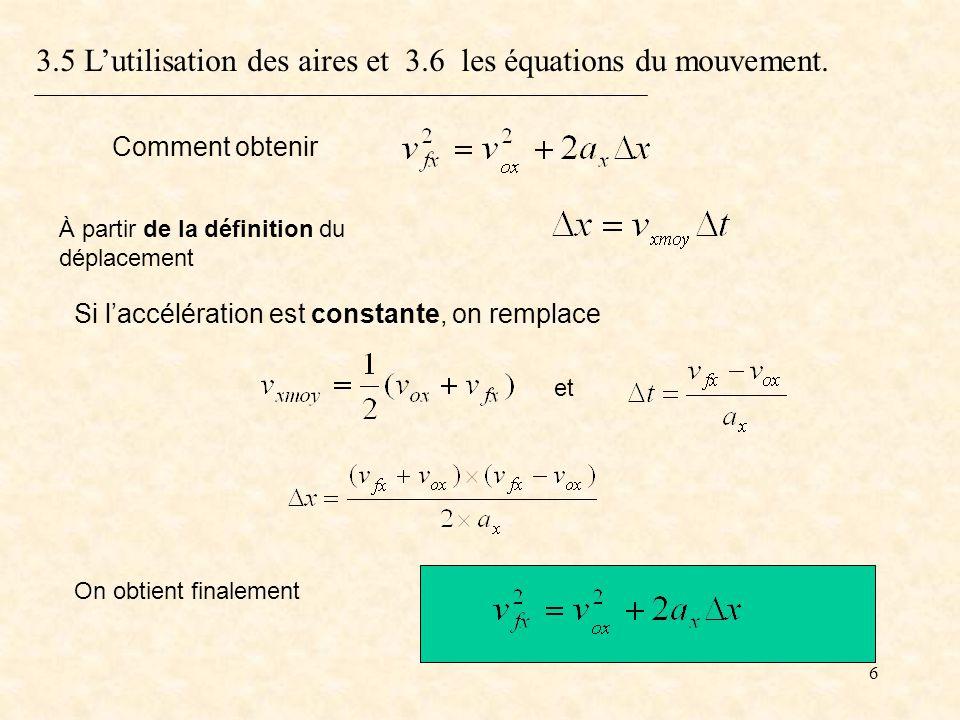 6 3.5 Lutilisation des aires et 3.6 les équations du mouvement. On obtient finalement À partir de la définition du déplacement Si laccélération est co