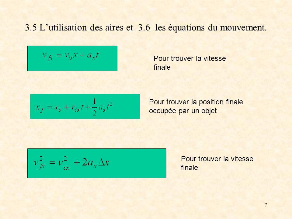 7 3.5 Lutilisation des aires et 3.6 les équations du mouvement. Pour trouver la position finale occupée par un objet Pour trouver la vitesse finale