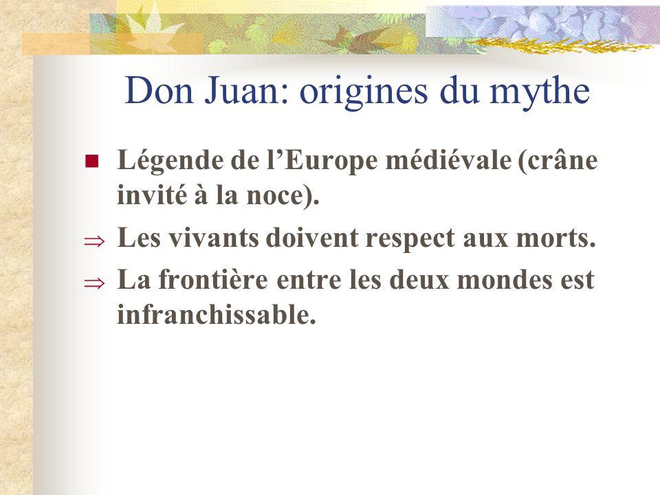 Don Juan: origines du mythe Légende de lEurope médiévale (crâne invité à la noce). Les vivants doivent respect aux morts. La frontière entre les deux