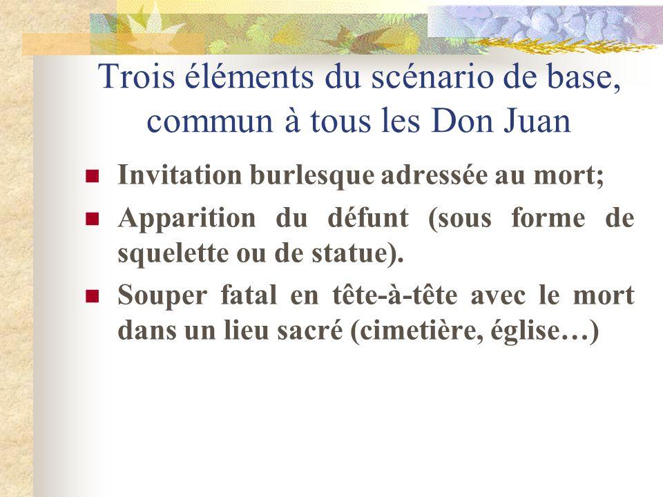 Trois éléments du scénario de base, commun à tous les Don Juan Invitation burlesque adressée au mort; Apparition du défunt (sous forme de squelette ou