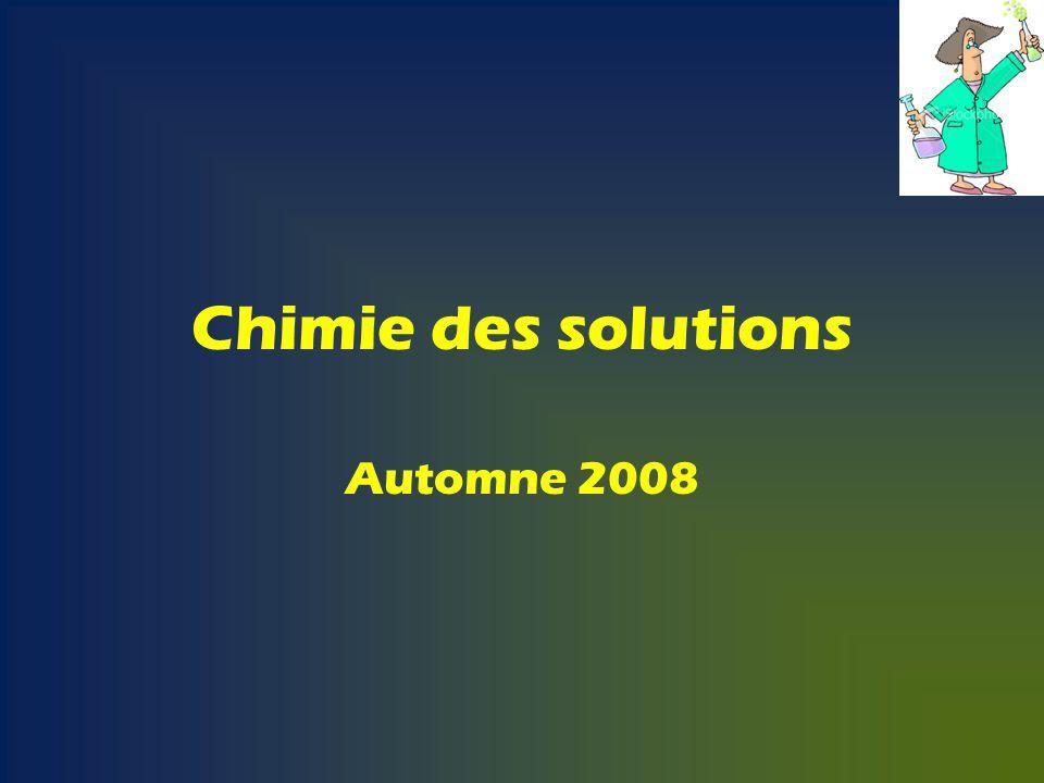 Chimie des solutions Automne 2008