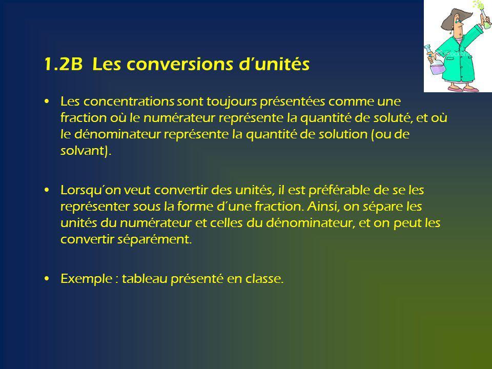 1.2B Les conversions dunités Les concentrations sont toujours présentées comme une fraction où le numérateur représente la quantité de soluté, et où le dénominateur représente la quantité de solution (ou de solvant).